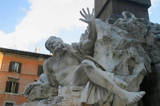Stock Photo: 1566-0220304 Fountain of the Rivers (Bernini). Piazza Navona. Rome. Italy