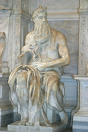 Statue of Moses (1514-1516) by Michelangelo in San Pietro in Vincoli. Rome. Italy : Stock Photo