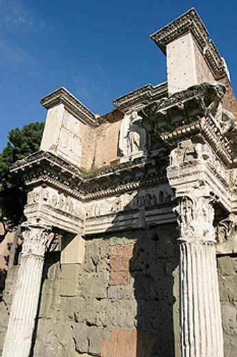Stock Photo: 1566-0220382 Corinthian columns (Colonnacce) and Minerva´s frieze. Minerva´s Temple.Foro di Nerva o Transitorio. Rome. Italy