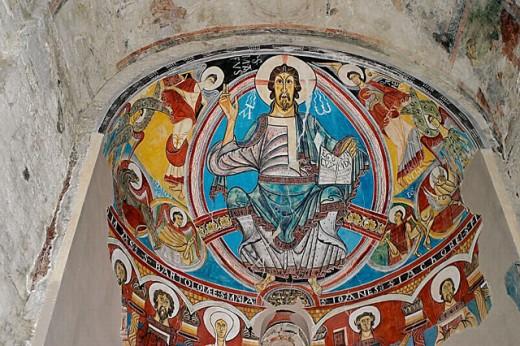 Pantocrator painting. Sant Climent de Taüll. Romanesque church (s. XII). Taüll. Alta Ribagorça. Lleida. Spain : Stock Photo