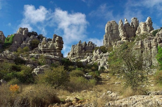 Erosion working on Jurassic limestones. This is the biggest Karstic landscape in Europe. The origin is the sea floor dating from 150 million years ago. Natural park of Torcal de Antequera. Antequera. Málaga province. Andalucia. Spain : Stock Photo
