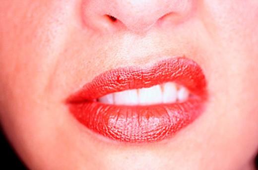 Close-up of female lips : Stock Photo