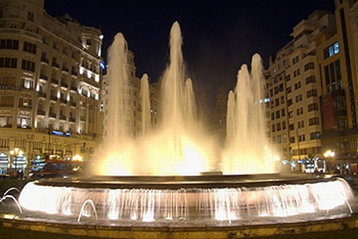 Fountain at Plaza del Ayuntamiento. Valencia. Spain. : Stock Photo