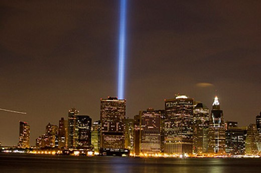 Blue light memorial. New York City : Stock Photo