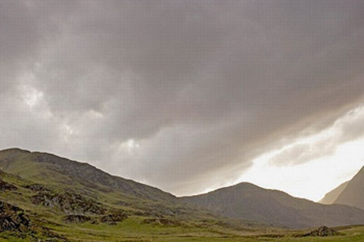 Storm clouds over Glen Clova in the evening. Angus, Scotland : Stock Photo