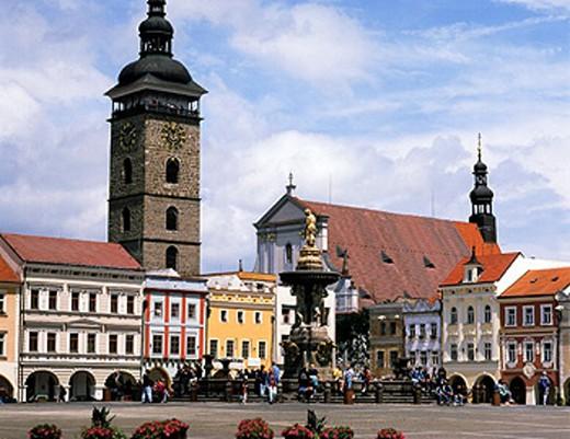 Premysla Otakara II Square. Ceske Budejovice, Czech Republic : Stock Photo