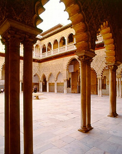 Courtyard in the Alcázar. Seville. Spain : Stock Photo
