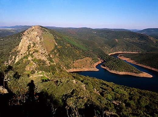 Tajo River from Monfrague castle. Monfrague Natural Park. Caceres province. Extremadura. Spain : Stock Photo