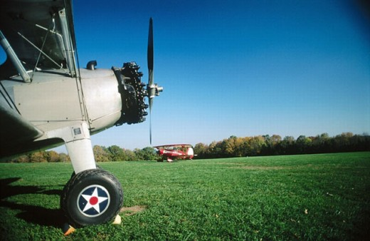 Vintage airplane in Van Zandt (or VanSandt) airfield. Bucks County, Pennsylvania, USA : Stock Photo