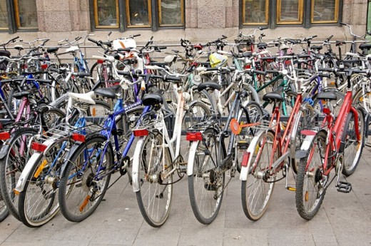 bikes at the central railway station. Helsinki. Finland : Stock Photo