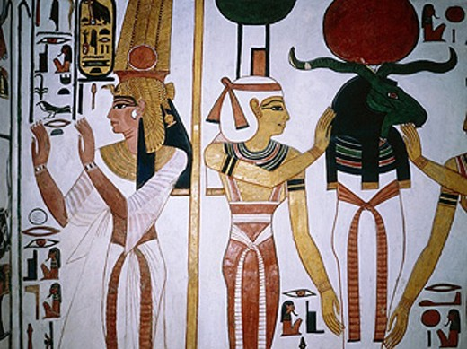 Wall frescoe in queen Nefertai grave. Deir-el-Bahari. Queens valley. Nile west bank. Luxor. Egypt : Stock Photo