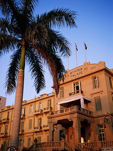 Stock Photo: 1566-0225976 Winter Palace hotel façade on Nile river, Luxor. Egypt