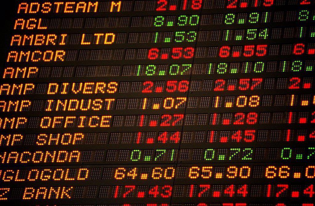 Stock Photo: 1566-022601 Digital board display, Australian Stock Exchange