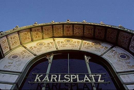 Karlplatz cafe designed by Otto Wagner. Vienna. Austria : Stock Photo
