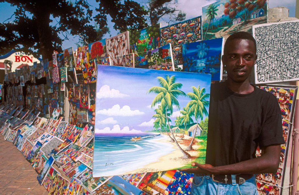 Stock Photo: 1566-0226653 Naive paintings, Santo Domingo market. Dominican Republic