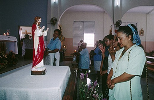 Stock Photo: 1566-0226664 Sunday mass in church. Jarabacoa, La Vega province. Dominican Republic