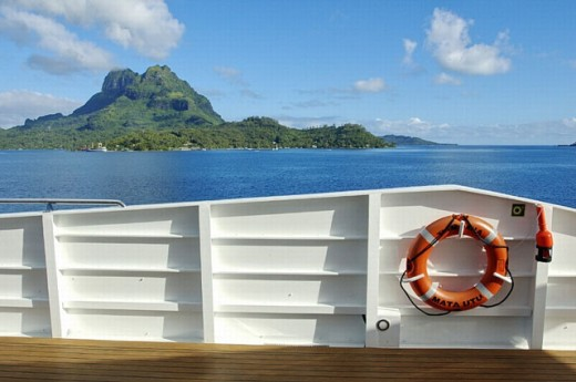 "Cruise on the luxury 30 cabins yacht ""Tia Moana"". Leeward islands. French Polynesia. South Pacific. : Stock Photo"