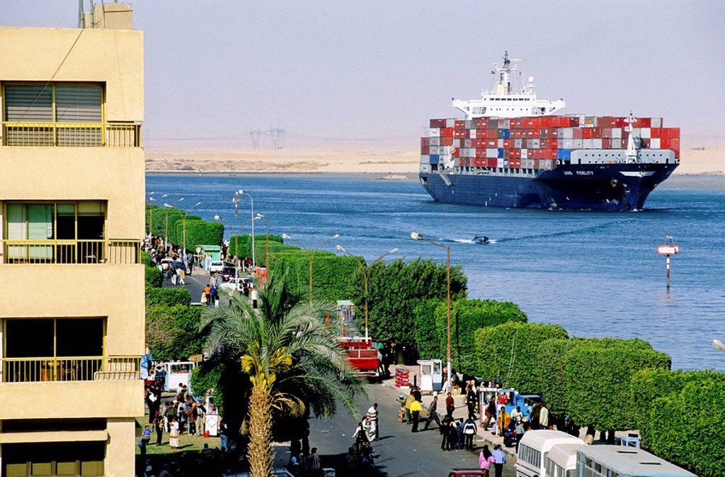 City of Suez at the south entrance of the Suez Canal. Egypt : Stock Photo