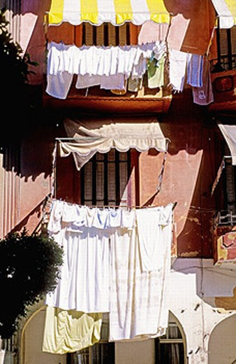 Drying laundry. Port Said at the mediterranean entrance of the Suez canal. Egypt : Stock Photo