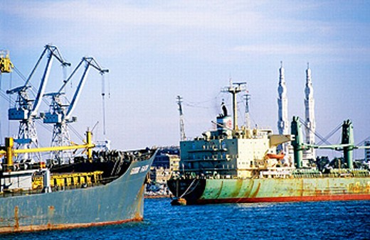 Port Said at the mediterranean entrance of the Suez canal. Egypt : Stock Photo