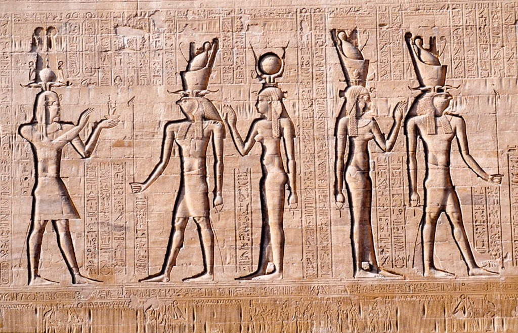 Stock Photo: 1566-0226839 High Relief. Edfu Temple. Upper Egypt. Egypt
