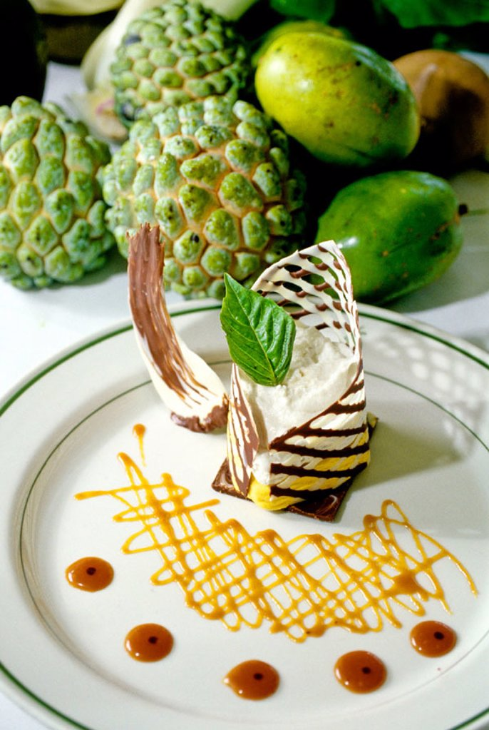 Dessert dish. Luxury resort and condominium Round Hills. Montego bay. Jamaica (Caribbean) : Stock Photo