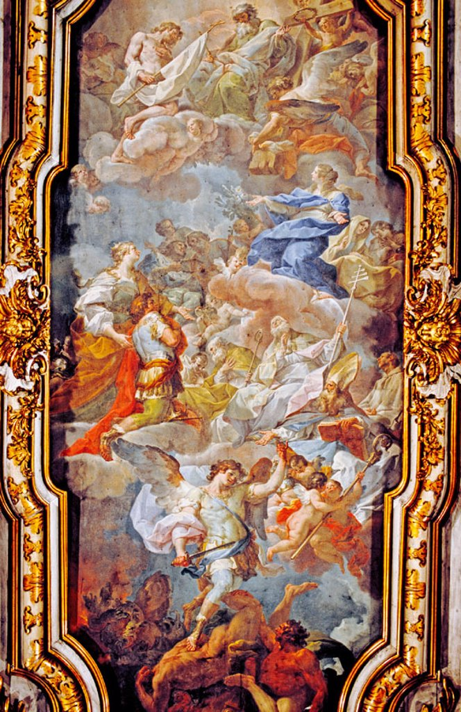 'Apparizione della Croce' by Corrado Giaquinto (c.1744), painted ceiling in the Santa Croce in Gerusalemme church. Rome, Italy : Stock Photo