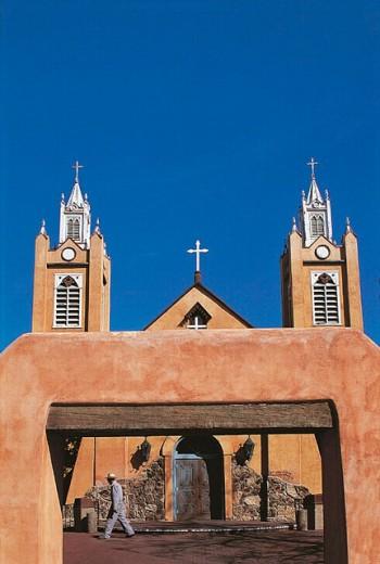 San Felipe de Neri Church founded in 1706, old town Albuquerque. New Mexico, USA : Stock Photo