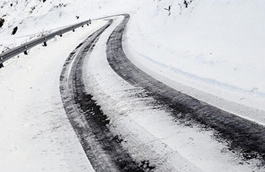 Road with ice and snow. Cerain, Gipuzkoa, Euskadi. : Stock Photo