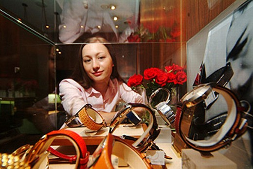 Moscow, Russia, Russian woman (MR), window shopping at Jewelry shopping , watches. : Stock Photo