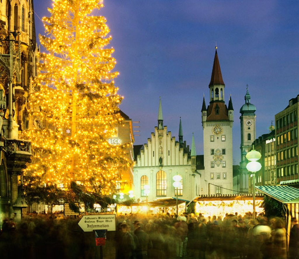 Christkindlmarkt at the Marienplatz Christmas Fair and Old City Hall Munich Upper Bavaria Germany : Stock Photo