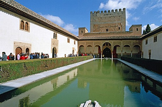 Stock Photo: 1566-0230425 Tower of Comares and Patio de los Arrayanes (Court of the Myrtles), Alhambra. Granada. Spain