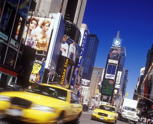 Street scene, taxi cabs. Times square. Manhattan, New York. U.S.A. : Stock Photo