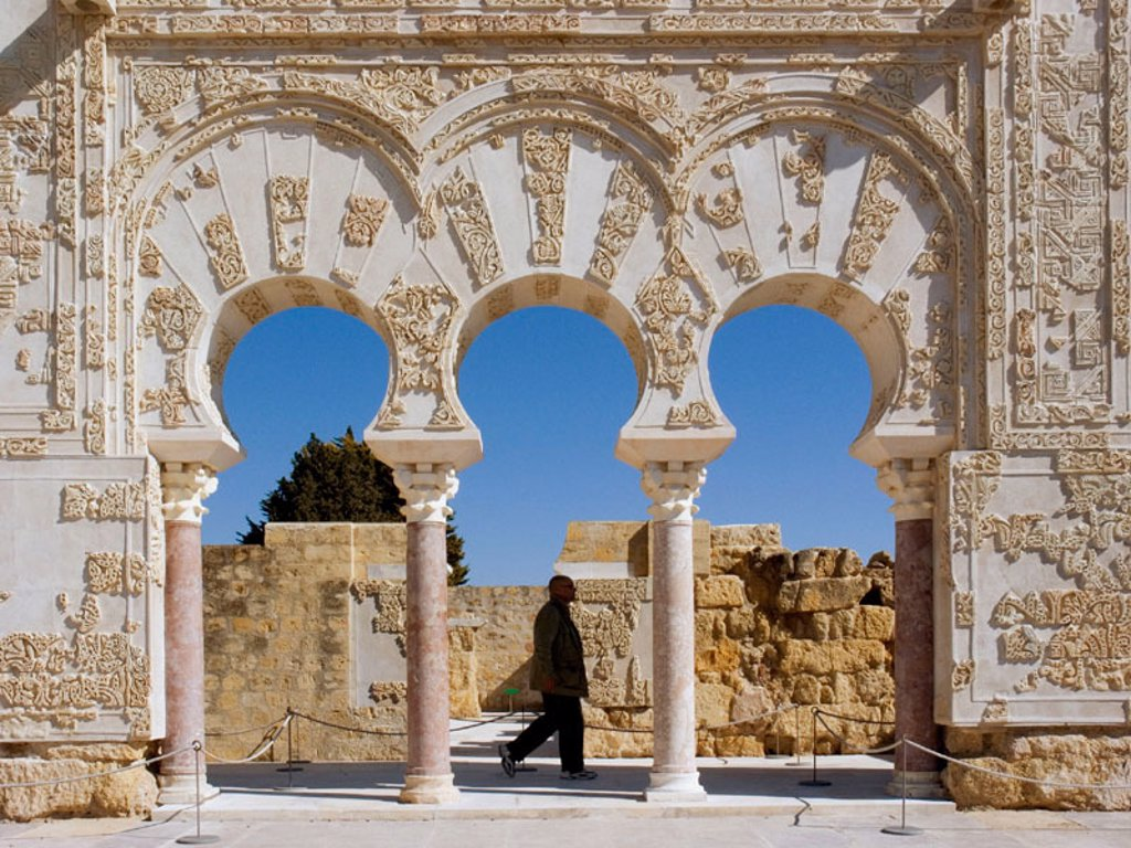 Stock Photo: 1566-0232136 House of Ya´far (Prime Ministser of Abd al-Rahman III) Doorway and Basilica. Madinat Al-Zahra (Medina Azahara). Cordoba. Andalucia. Spain.