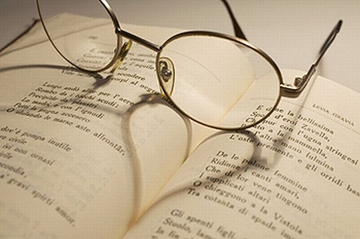 Glasses over love poems book : Stock Photo