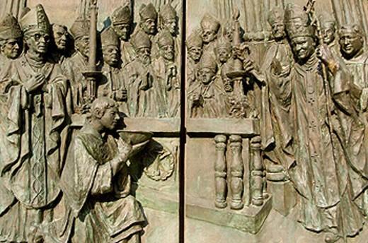 Stock Photo: 1566-0235182 Door of the cathedral of Nuestra Señora de la Almudena. Madrid. Spain