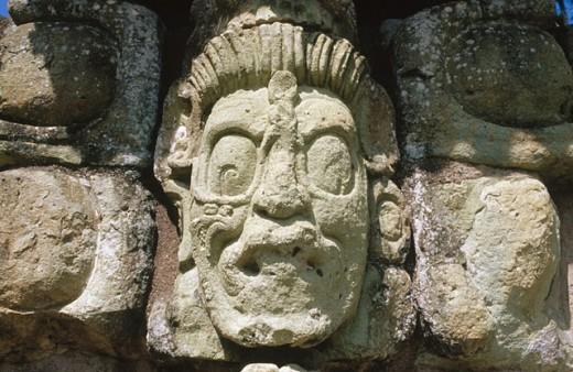 God Sun. Mayan ruins of Copán. Honduras : Stock Photo