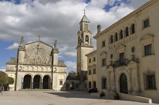 Stock Photo: 1566-0235732 Escuelas Profesionales de la Sagrada Familia and tower of Hospital de Santiago in background, Úbeda. Jaén province, Andalusia, Spain
