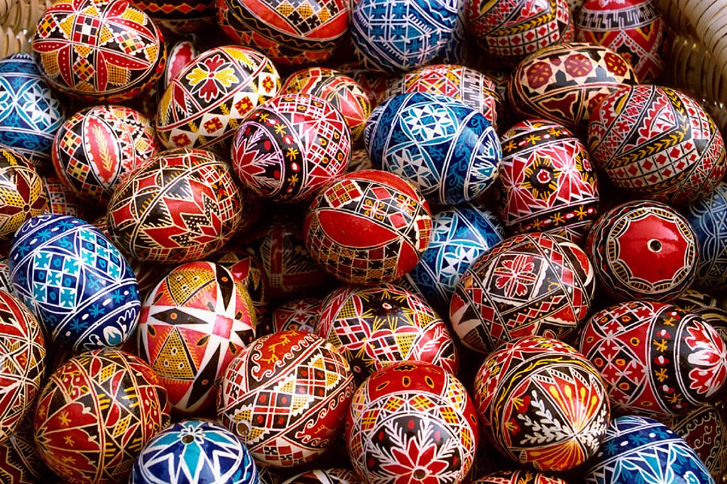 Stock Photo: 1566-0238254 Painted eggs. Bucharest, Romania