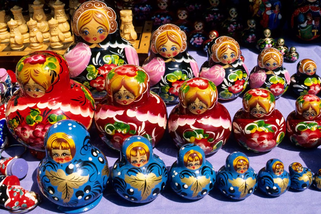 Stock Photo: 1566-0238395 Russia. Moscow. Typical Matrioshkas, russian dolls