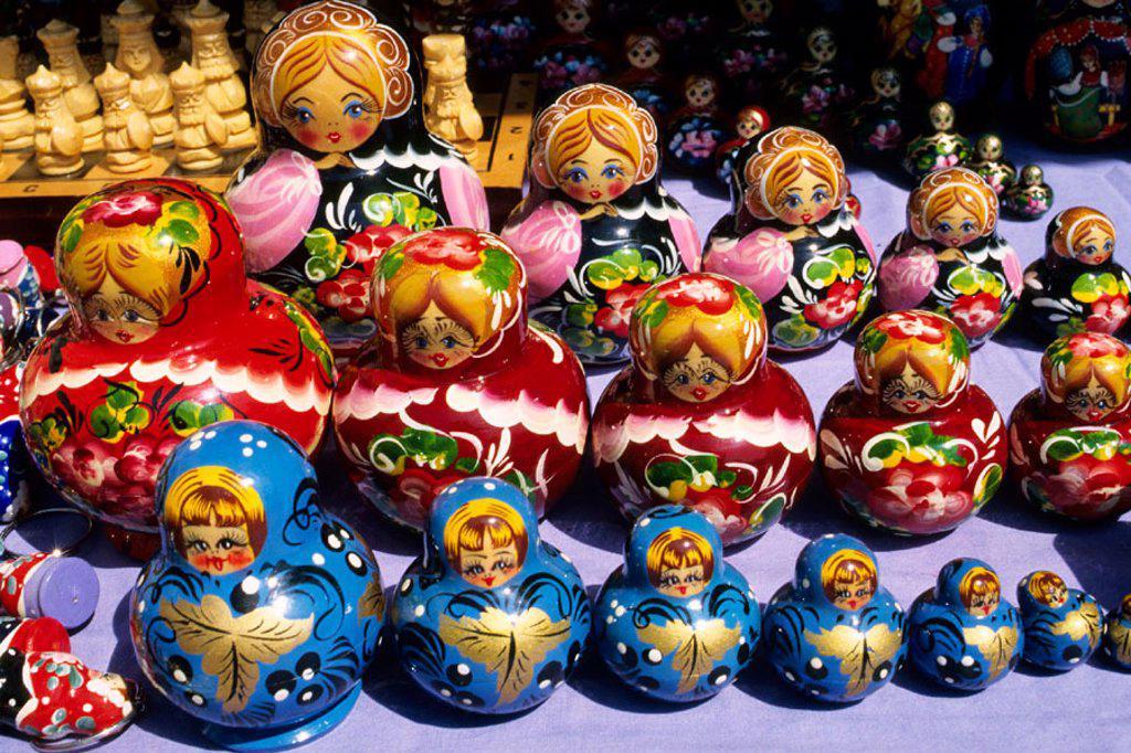 Russia. Moscow. Typical Matrioshkas, russian dolls : Stock Photo