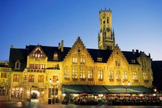 Stock Photo: 1566-0238410 Belfort Tower. Market Square (Markt). Brugge. Belgium