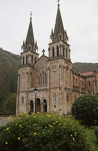 Sanctuary of Covadonga. Neoclassicism. Picos de Europa National Park. Biosphere Reserve. Asturias, Spain : Stock Photo
