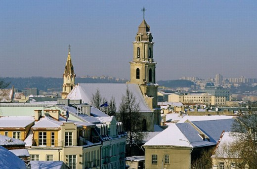 Stock Photo: 1566-0240173 St. Mary´s Church from Artillery Bastion in winter. Vilnius, Lithuania
