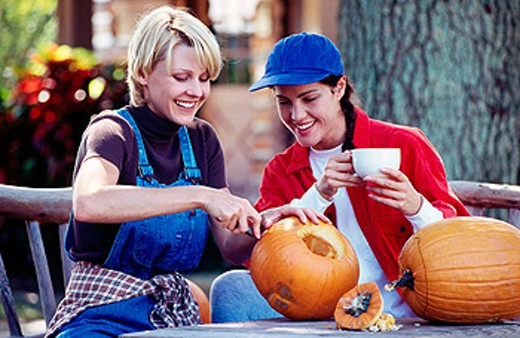 Carving pumpkins : Stock Photo