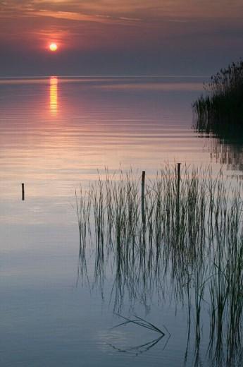 Lake Balaton at Sunrise. Largest Freshwater Lake in Mainland Europe. Tihany. Lake Balaton Region. Hungary. 2004. : Stock Photo