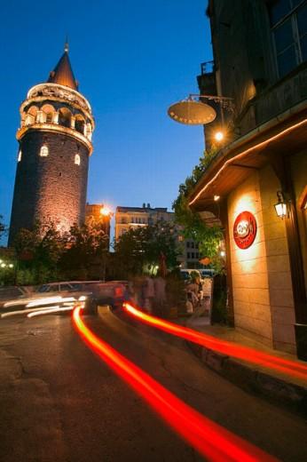 Stock Photo: 1566-0242532 Galata tower at night, Istanbul. Turkey