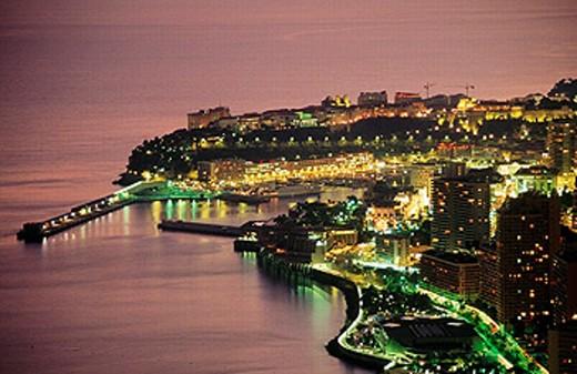 Montecarlo at dusk. Côte d´Azur, Monaco : Stock Photo