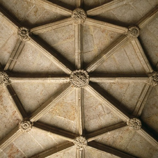 Stock Photo: 1566-0246358 Ceiling detail, cloister of the Monastery of the Hieronymites. Belem, Lisbon. Portugal