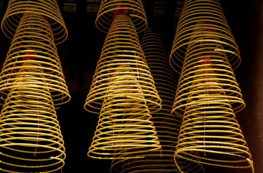 Stock Photo: 1566-0246611 Incense in Man Mo Temple. Hong Kong, China